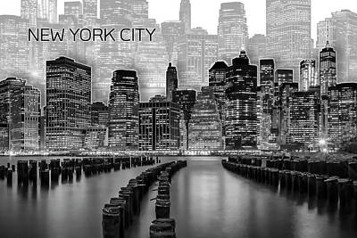 Brooklyn Bridge Digital Art - Manhattan Skyline - Graphic Art - White by Melanie Viola