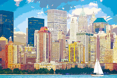 Digital Art - Manhattan Skyline New York City by Anthony Murphy