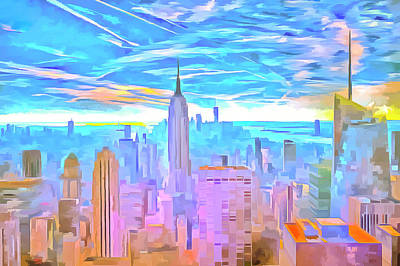 Photograph -  Manhattan Skyline Pop Art by David Pyatt