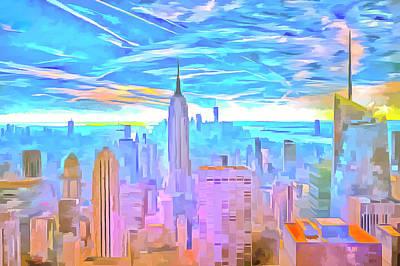 Photograph -  Manhattan Skyline Pop Art by David Pyatt