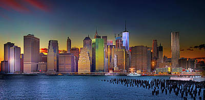 Photograph - Manhattan Skyline Sunset by Mark Andrew Thomas
