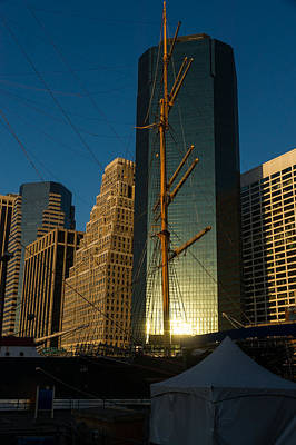 Photograph - Manhattan Sunrise Reflection Through Masts And Rigging by Georgia Mizuleva