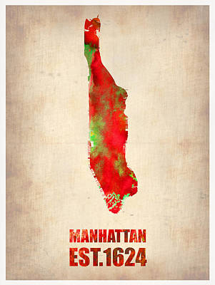 Manhattan Watercolor Map Art Print by Naxart Studio