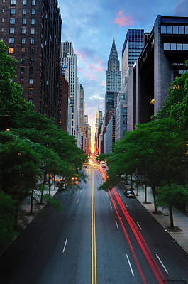 Manhattanhenge From 42nd Street, New York City Art Print
