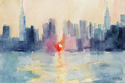 Painting - Manhattanhenge Note Cards by Beverly Brown