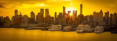 Manhattan's Ports At Sunrise Art Print