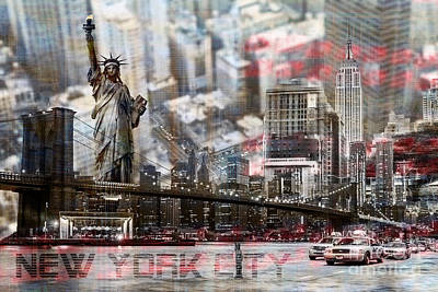 Print featuring the photograph Manhatten From Above by Hannes Cmarits