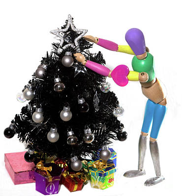 Photograph - Manikin And Black Christmas Tree by Linda Matlow