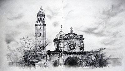 Philippines Drawing - Manila Cathedral by Ann Supan