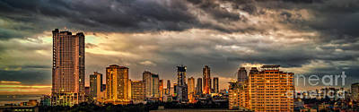 Coastline Digital Art - Manila Cityscape by Adrian Evans
