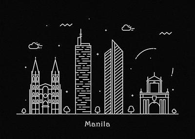 Drawing - Manila Skyline Travel Poster by Inspirowl Design