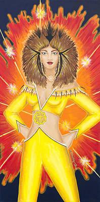 Painting - Manipura Solar Plexus Chakra Goddess by Divinity MonSun Chan