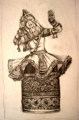 Indian Dance Drawing - Manipuri Dancer 2 by Narayani  Arts