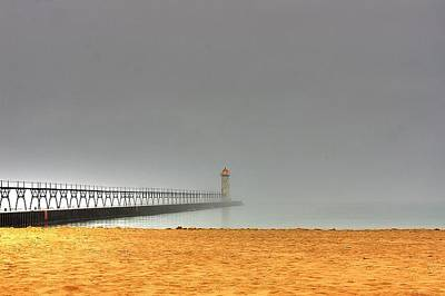 Photograph - Manistee Light And Fog by Randy Pollard