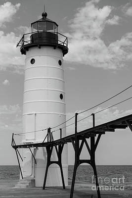 Photograph - Manistee Lighthouse Grayscale by Jennifer White