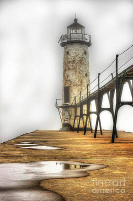 Photograph - Manistee Lighthouse In Fog by Randy Pollard