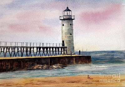 Painting - Manistee North Pierhead Light by Brenda Thour