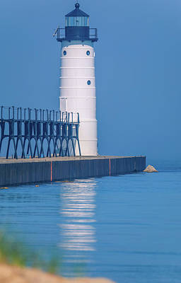 Photograph - Manistee North Pierhead Lighthouse Reflection by Dan Sproul