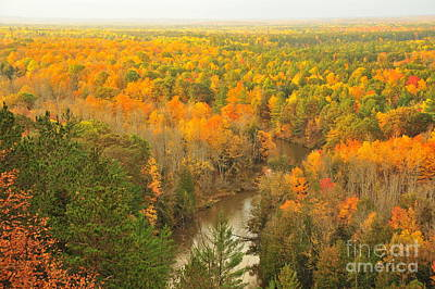 Fall Photograph - Manistee River Winding Through Autumn by Terri Gostola