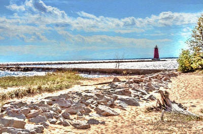Digital Art - Manistique Lighthouse Fall 1 by Trey Foerster