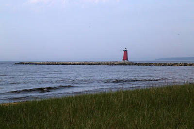 Photograph - Manistique Lighthouse Gray Day by Mary Bedy