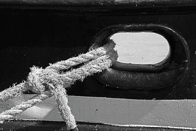 Photograph - Manitou Tug Detail 5 Bw by Mary Bedy