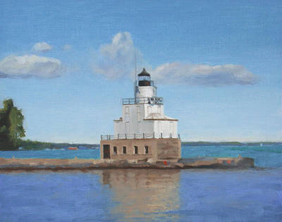 Painting - Manitowoc Breakwater Light by Charles Pompilius