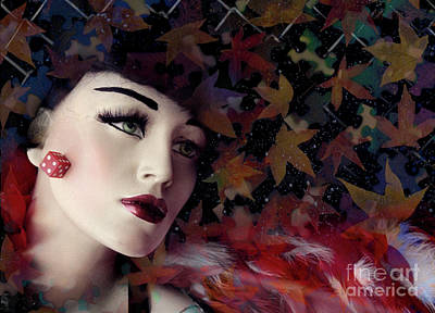 Photograph - mannequin photographs - Woman with Red Boa by Sharon Hudson