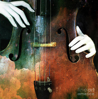 Manniquin On Cello  Art Print by Steven Digman