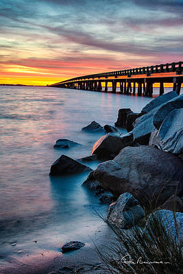Photograph - Manns Harbor Bridge Sunset 1127 by Dan Beauvais