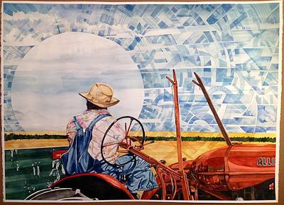 Painting - Manny During Wheat Harvest by Lance Wurst