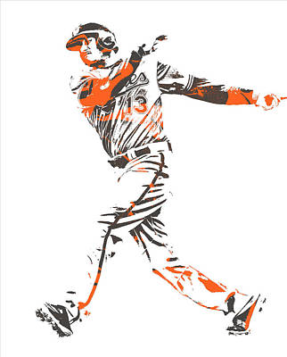 Mixed Media - Manny Machado Baltimore Orioles Pixel Art 12 by Joe Hamilton