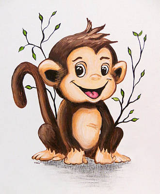 Painting - Manny The Monkey by Teresa Wing