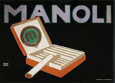 Tobacco Wall Art - Mixed Media - Manoli - Vintage Advertising Poster For Cigarette by Studio Grafiikka