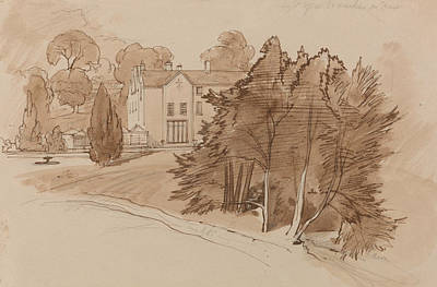 Drawing - Manor by Edward Lear