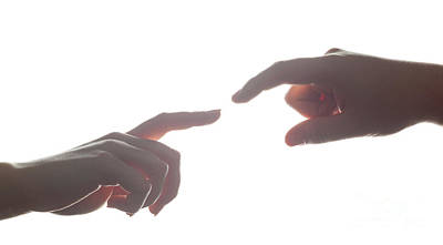 Couple Photograph - Man's And Woman's Hands, Fingers Reaching Each Other. Love, Connect, Help Concepts. by Michal Bednarek