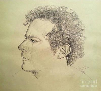 Drawing - Man's Head Classic Study by Maja Sokolowska