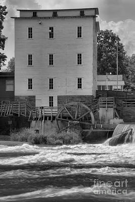 Photograph - Mansfield Grist Mill Portrait Black And White by Adam Jewell