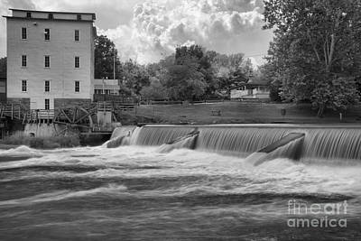Photograph - Mansfield Grist Mill Spillway Black And White by Adam Jewell