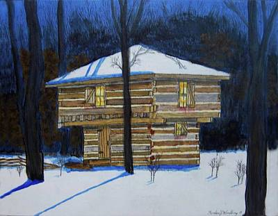 Snow Fort Painting - Mansfield Ohio Block House by Gordon Wendling