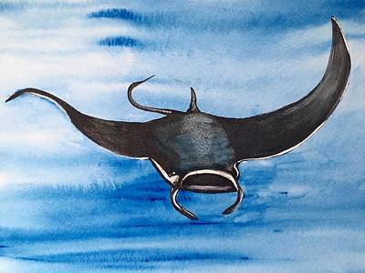 Painting - Manta Ray by Mastiff Studios