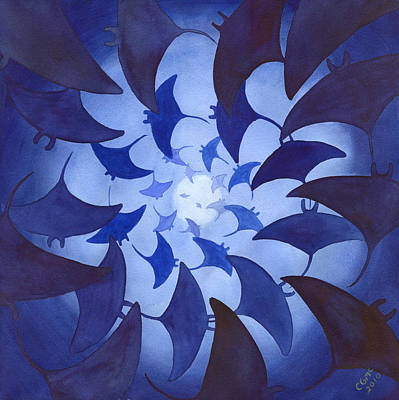 Rays Painting - Mantas by Catherine G McElroy