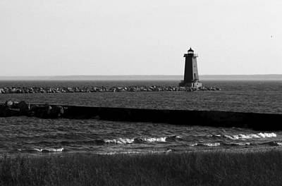 Photograph - Manistique Lighthouse Bw by Mary Bedy