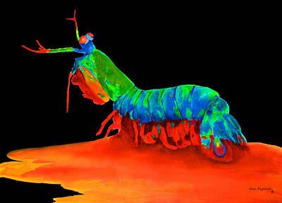 Lobster Painting - Mantis Shrimp On Black by Ken Figurski