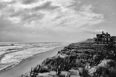 Black And White Surf Photograph - Mantoloking Beach - Jersey Shore by Angie Tirado