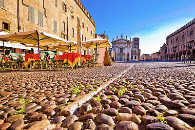 Photograph - Mantova City Paved Piazza Sordello And Idyllic Cafe View by Brch Photography
