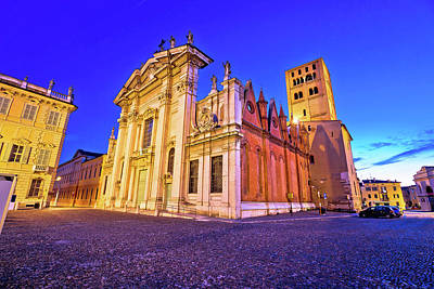 Photograph - Mantova City Piazza Sordello And Cathedral Evening View by Brch Photography