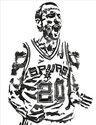 Manu Ginobili San Antonio Spurs Pixel Art 4 Art Print