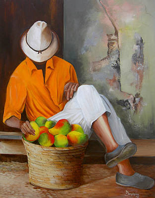 Manuel The Fruit Vendor Resting Original by Dominica Alcantara