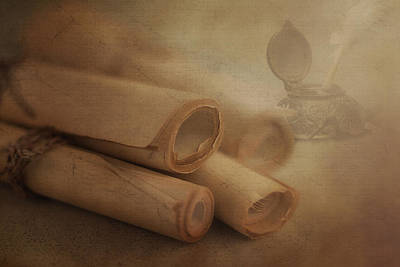 Parchment Photograph - Manuscript Scrolls Still Life by Tom Mc Nemar